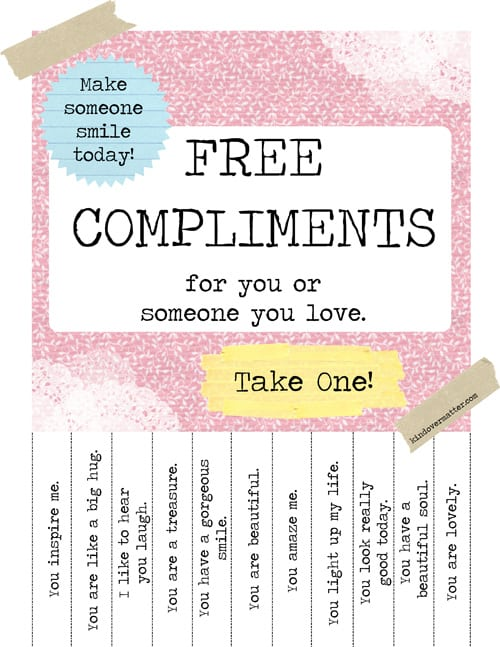 freebie alert   printable free compliments poster