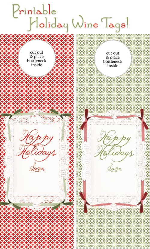 graphic relating to Printable Wine Bottle Tags known as Totally free Printable Holiday vacation Wine Present Tags! - Form Above Issue