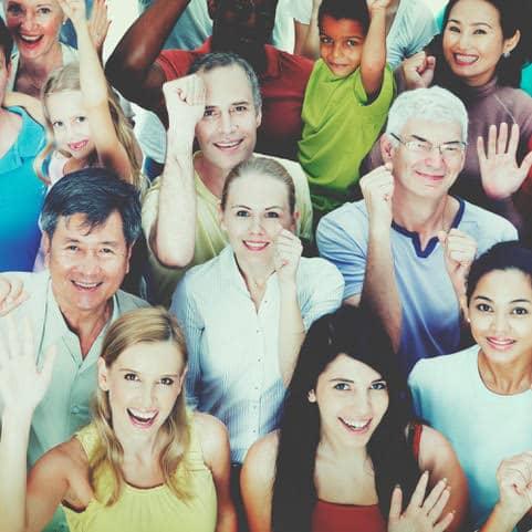 diverse group people celebration teamwork concept
