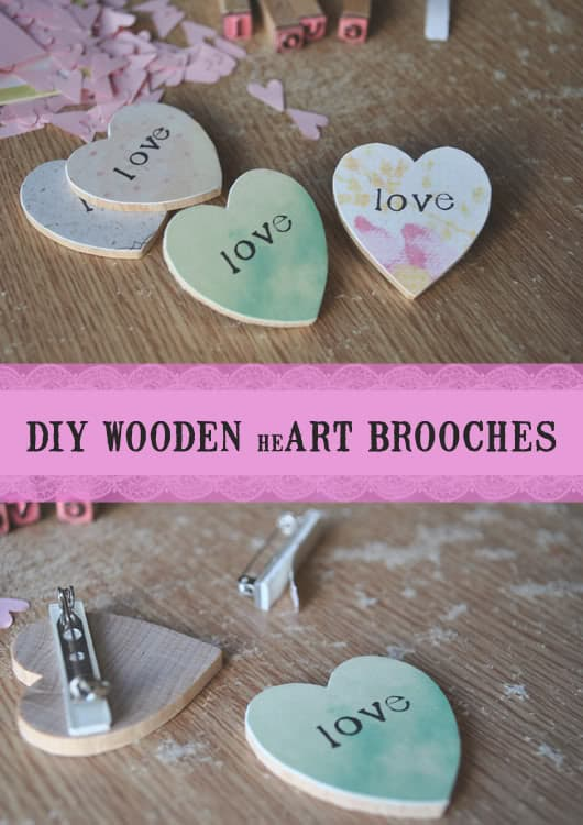 Diy It Wooden Heart Brooches Kind Over Matter