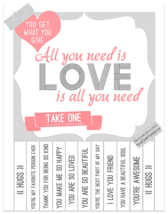 Free Printable Tear Off Poster Love Is All You Need